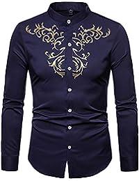 f015d2ec430b FRAUIT Hemd Herren Vollfarbe Luxus Hemden Gold Stickerei Für Anzug  Freizeit, Business, Hochzeit,