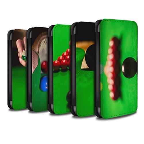 Stuff4 Coque/Etui/Housse Cuir PU Case/Cover pour Apple iPhone SE / Boul Blanc/Craie Design / Snooker Collection Pack 15pcs