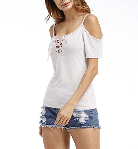 Frauen sexy V-Ausschnitt Querbügel Fest Farbe Ausschnitt Schulter Kurzarm T-Shirt  Top Weiß ...