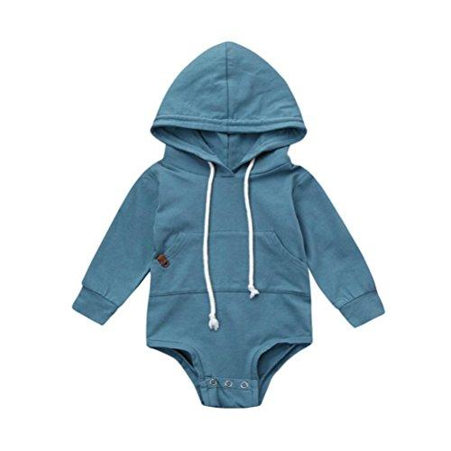 rampler Hirolan Baby Strampler Kleinkind Säugling Kapuzenpullover Strampler Festliche Babykleider Junge Overall Mädchen Tops Outfits Kleider (90, Blau) (Blaue Outfits Für Mädchen)