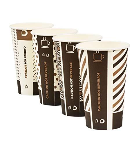 0 x 454 ml Ingeo Mischdesign Bambus Becher einwandig kompostierbar biologisch abbaubar PLA beschichtet Tee Kaffee Espresso Heiße Getränke Tassen ()