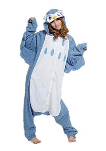 Anbelarui Eule Jumpsuit Tier Cartoon Fasching Halloween Kostüm Sleepsuit Unisex Tier Cosplay Fleece-Overall Pyjama Schlafanzug Erwachsene (XL - Eule Kostüm Für Erwachsene