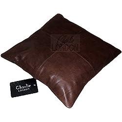 2x auténtica 100% Vintage piel sofá fundas de cojín decoración del hogar Charlie Londres