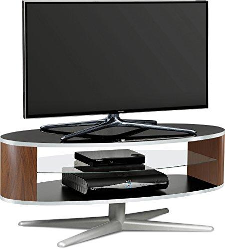 MDA Designs órbita 1100bwa negro brillante con lados elíptica de nogal soporte para televisor de pantalla plana televisores de hasta 55'