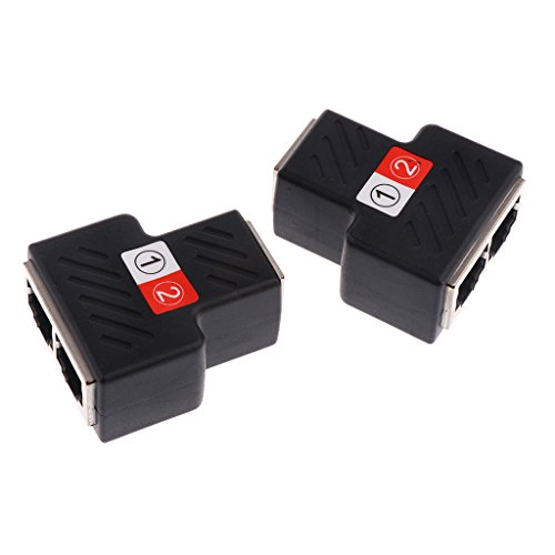Nadel Abschirmung Gerät (MagiDeal 2x Netzwerkkabel Splitter Netzwerk LAN Anschluss Verteiler RJ45 Splitter Adapter - schwarz)