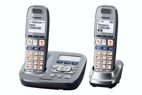 Panasonic KX-TG6592GM Schnurlostelefon mit Anrufbeantworter (4,8 cm (1,9 Zoll) Display) graphite