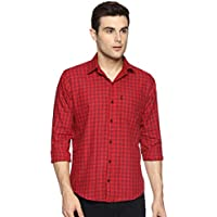 LEVIZO 100% Cotton Casual Check Regular Fit Shirt for Men Red Size L