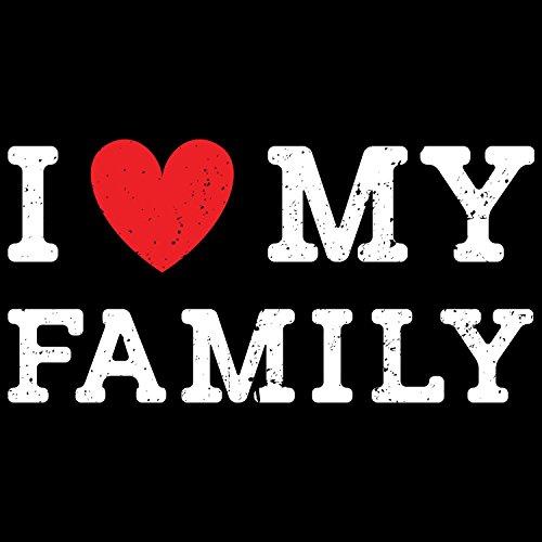 Fashionalarm Damen T-Shirt - I Love My Family | Fun Shirt mit Spruch als Geburtstag Geschenk Idee & zum Muttertag für Mama Mutter Schwarz
