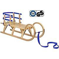 Impag® Klassischer Hörner-Schlitten Rodel   100-125 cm lang   stabiles Buchenholz   belastbar bis 110 kg   mit Zuggurt und Sicherheits-Rückenlehne   TÜV geprüft