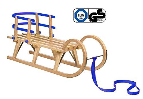 Impag® Klassischer Hörner-Schlitten Rodel | 100 - 125 cm lang | stabiles Buchenholz | belastbar bis 110 kg | mit Zuggurt und Sicherheits-Rückenlehne | inkl. Fußsack | TÜV geprüft