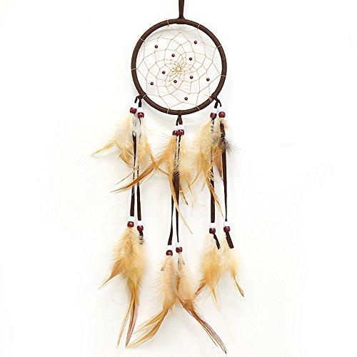 Dream Catchers braun handmade Perlen Feder indianischen Dreamcatcher kreisförmigen Netz für Auto Kinderzimmer Wand hängen Dekoration Dekor Ornament Handwerk