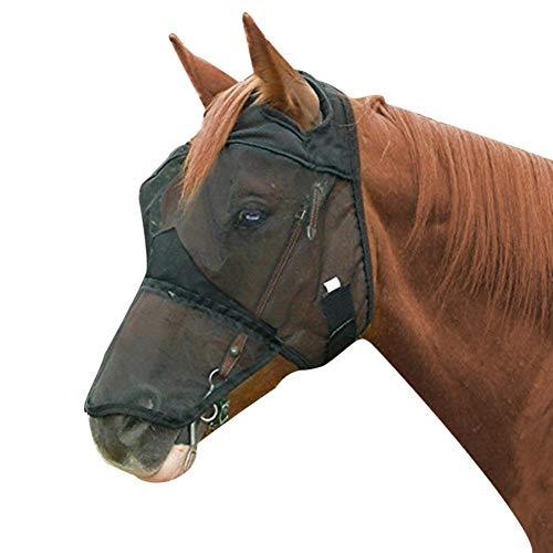 cypressen Fliegenmaske Pferd Basic Volles Gesicht, Mit Ohrenschutz Schwarz