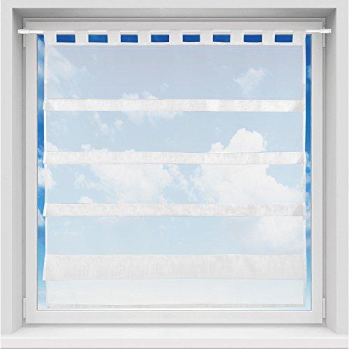 Bistrogardine in transparent mit Raffoptik, einfarbige und lichtdurchlässige Voile-Scheibengardine mit Schlaufe, in vielen verschiedenen Farben und Größen verfügbar (100 x 110 cm / weiß - schneeweiß)