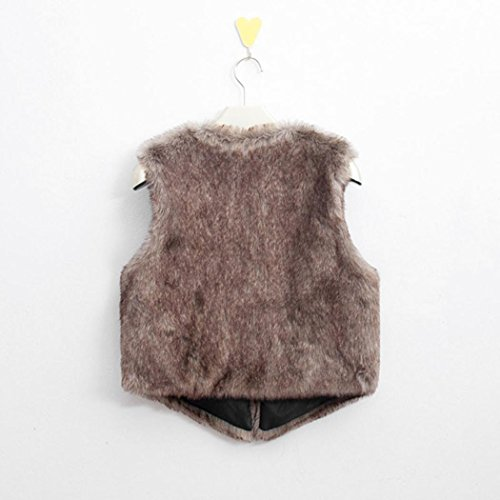 Ularma Damen Front-Open Kunstpelzl Ärmellose Weste Pelzweste V-Hals Winter Pelzjacke Outwear Braun