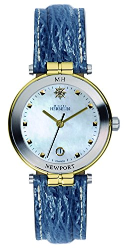 Michel Herbelin Newport Yacht Club Women's Quartz Watch with Mother of Pearl Dial Analogue Display and Blue Leather Strap 12866/T19