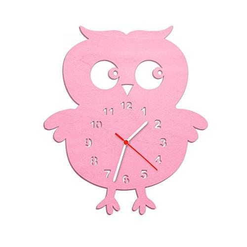Kinder Wanduhr aus Holz im Eulen Design für Mädchen & Jungen Kein Ticken Lautloses Uhrwerk 30 cm Groß in 5 Farben erhältlich Made in Germany Farbe Rosa