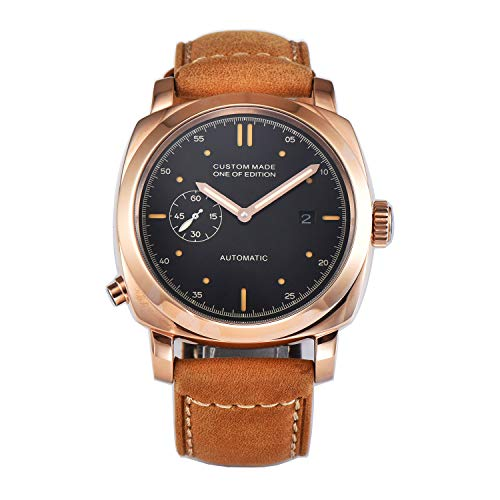 PARNIS-MM 9519 Deutsche Edition Herrenuhr Automatik-Uhr 44mm Edelstahl vergoldet Leder Mineralglas 5BAR Seagull ST25 Uhrwerk Datum