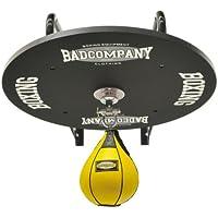 Profi Speedball Plattform Set inkl. Drehkugellagerung schwarz und Leder Boxbirne medium gelb / Boxapparat für die Wandmontage
