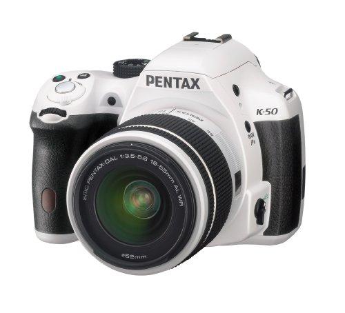 Pentax-K-50-Fotocamera-e-Obiettivo-DA-L-18-55-WR-Sensore-CMOS-APS-C-da-1649-Megapixel-Display-LCD-da-3-Video-Full-HD-Bianco
