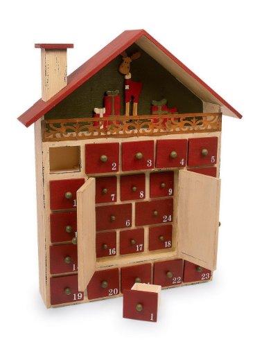 """Adventskalender \""""Winterhütte\"""" aus lackiertem Holz, ideale Dekoration für die Weihnachtszeit, einfach und nachhaltig jedes Jahr wiederverwendbar"""