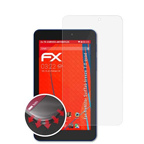 atFolix Schutzfolie passend für Trekstor SurfTab Breeze 7.0 Quad Folie, entspiegelnde & Flexible FX Bildschirmschutzfolie (2X)
