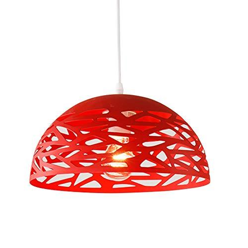 Lampe suspendue rétro E27 Suspension Lamp salle à manger table à manger cuisines luminaires suspendus plafonnier abat-jour métal rouge rond plafonnier design ajourée, 30CM