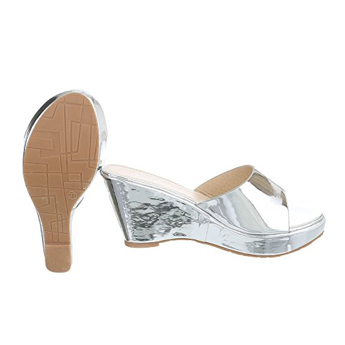 Ital-Design Pantoletten Damenschuhe Jazz & Modern Keilabsatz/Wedge Keilabsatz Sandalen/Sandaletten Silber XF87-R