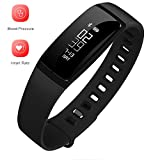 Fitness Activity Tracker - Smart Bracelet Fitness Wristband With Heart Rate Monitor Blood Pressure Monitor - Smart Pedometer Watch Bluetooth 4.0 with Step Counter/Calorie Tracker/Sleep Monitor/Call Alert for iPhone and Android Smart Phone (Black)