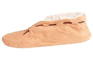 Damen oder Herren ABS-Stopper-Hausschuhe aus Echtleder / Veloursleder mit Fell Innenfutter in Braun Gr. 35
