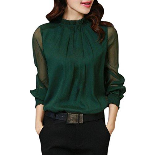 Vestiti da donna, meibax donne camicette chiffon elegante stand colletto vestiti maglia sciolto volant top translucent manica lunga casual shirt (l, verde)