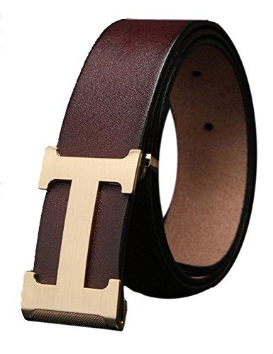 Menschwear Herren Echtes Büffel Leder Gürtel mit Schlupf Schnalle Jeans Hose Gürtel Voellig verstellbar Kaffee 125cm