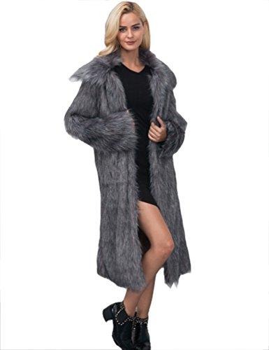 Yuandian donna autunno e inverno casuale colletto quadrato lungo parka cappotto di pelliccia sintetica elegante morbido caldo ecologiche faux pellicce lunghe giubbotto capispalla argento grigio 2xl