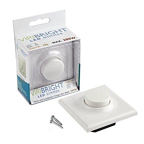 Viribright LED Dimmer 220V AC, 1A, bis 200WATT - stufenloser Helligkeitsregler, auch für herkömmliche Leuchtmittel geeignet, Viribright weiß -