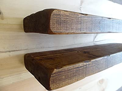 2 X 60cm Reclaimed Style Chunky Floating Shelf Shelves Wooden