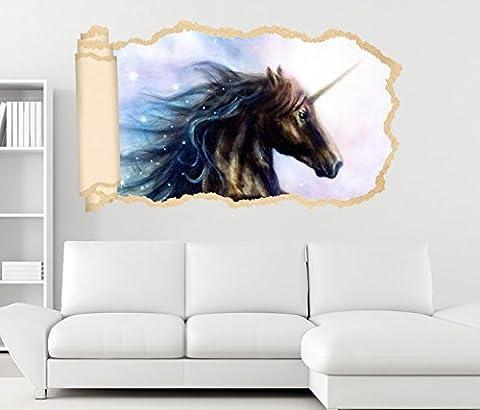 3D Wandtattoo Einhorn Pferd Kinderzimmer Märchen Sterne Tapete Wand Aufkleber Wanddurchbruch Deko Wandbild Wandsticker 11N2028, Wandbild Größe F:ca.