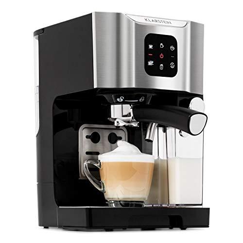 Klarstein BellaVita - Macchina da Caffè, Funzione 3 in 1 per Espresso, Cappuccino e Latte Macchiato, Montalatte da 0,4 L, 20 Bar, Serbatoio da 1,4 L, Argento