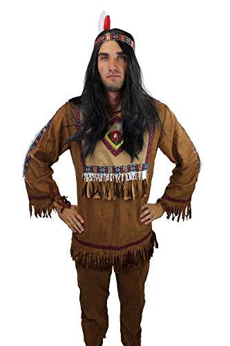 Kostüm Herren Herrenkostüm Indianer Häuptling Apache Feder L030, Gr. 48, M