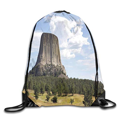 Jebnpse Printed Drawstring Backpacks Bags,Landscape Photo of Devils Tower National Monument with Trees and Amazing Sky,Adjustable String Closure