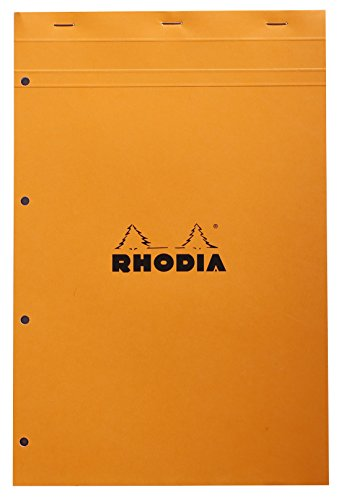 Rhodia 20200C Notizblock (kariert, DIN A4, 21 x 29,7 cm, mikroperforiert, 80 Blatt) 1 Stück orange