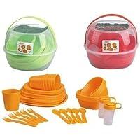 GMMH Aufbewahrung Box Servier 5 Schalen 24 x 25 x 4 cm Picknick Set Camping Geschirr Picknickset Frischhaltedosen