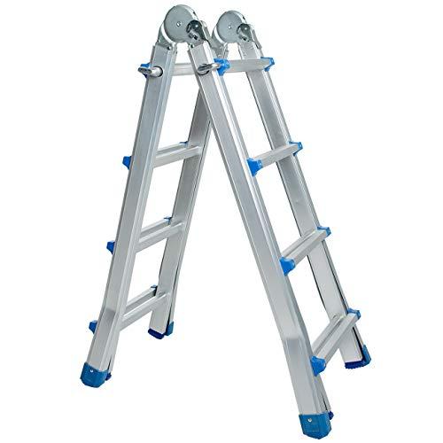 WORHAN® Escalera 414cm Aluminio Telescopica 4.14m Multifuncion Multiuso Aluminio Plegable Tijera L4