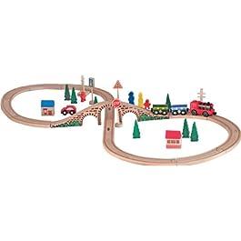 Woodyland – Pista in Legno 40 Pezzi con Un Trenino A Batteria E 2 Vagoni