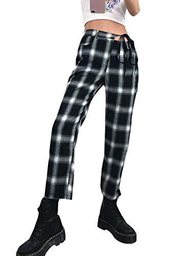 Jumojufol Pantalones De Corte De Bota A Cuadros De Cintura Alta con Cordón De Pierna Recta para Mujer Negro L