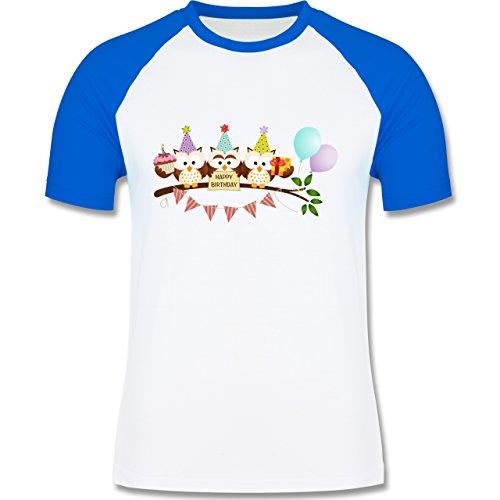 Geburtstag - Party Eulen Happy Birthday - zweifarbiges Baseballshirt für Männer Weiß/Royalblau