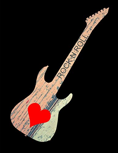 Rock N Roll Music Guitar Vintage Wood Notebook Journal 150 Page College Ruled Pages 8.5 X 11 - Roses Tab Guns And