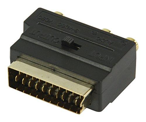 Valueline Adaptateur vidéo commutable avec fiche Péritel mâle vers 3 connecteurs RCA Femelles/S-Vidéo - Noir