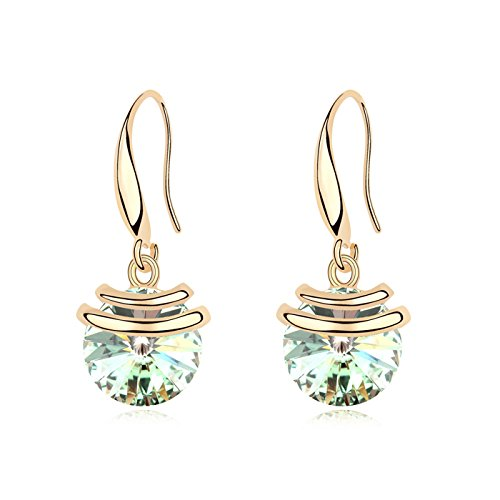 Hot And Bold Green Swarovski Crystals Diamond Stud Gold Plated Dangling Earring For Women's/Girls