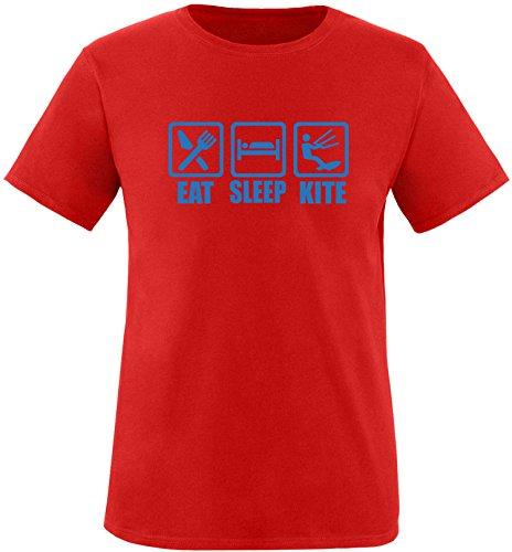 EZYshirt® Eat Sleep Kite Herren Rundhals T-Shirt Rot/Blau