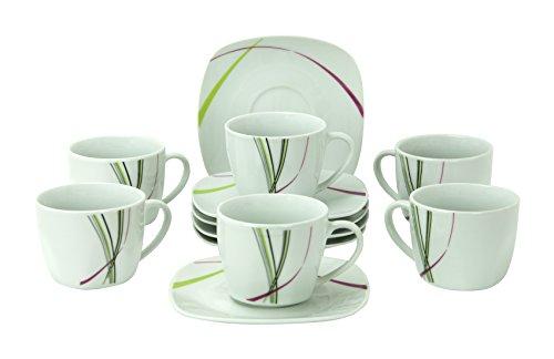 Set di 6 tazzine da 11 cl con espresso sotto tazza 12,3 cm Fashion