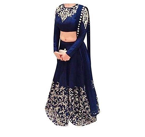 Florence Women\'s Raw Silk Semi-Stitched Lehenga Choli (Blue_Free Size)